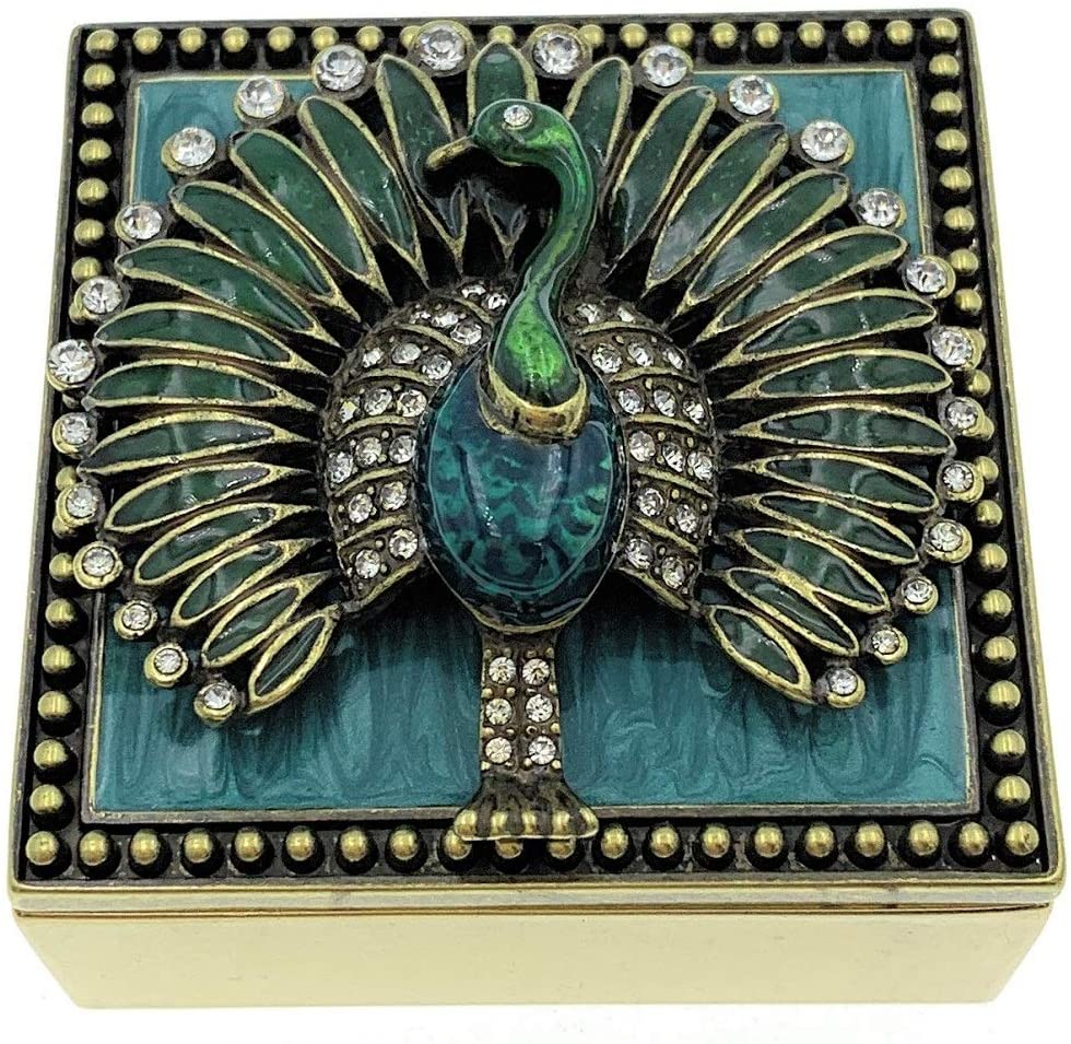 Kubla Crafts Enameled Peacock Square Trinket Box, Accented with Austrian Crystals