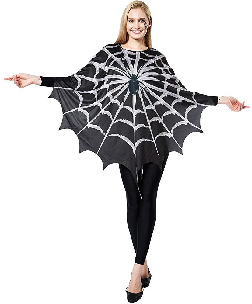 ReneeCho Women's Web Poncho Halloween Costume Spider Mom Fun Cape Plus Sized