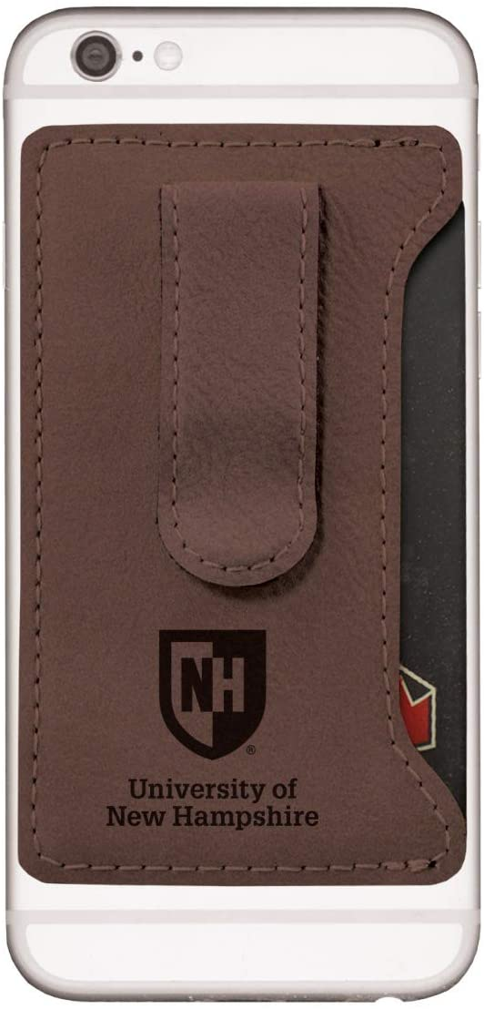 University of New Hampshire -Leatherette Cell Phone Card Holder-Brown