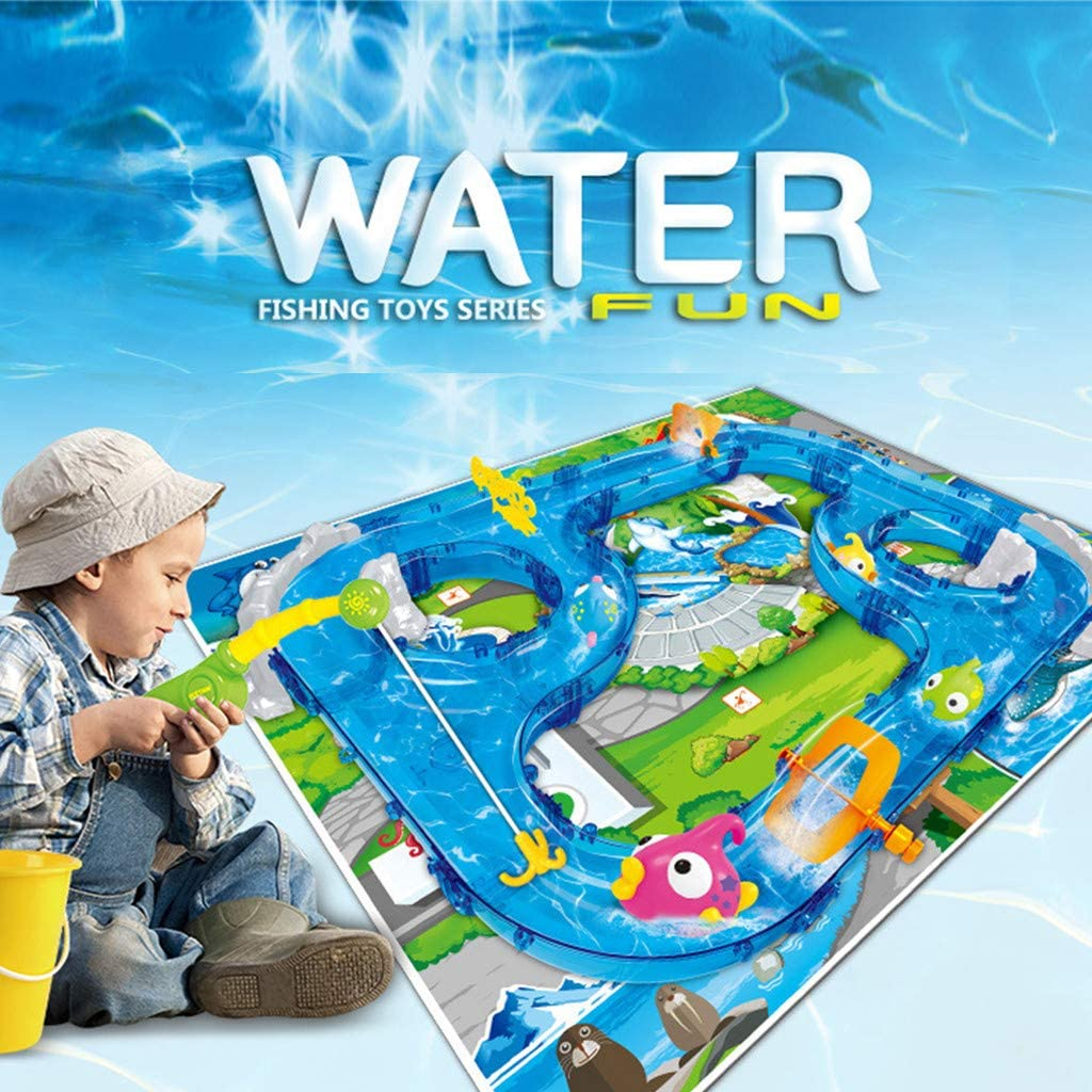 Water Bath Toys,DIY Assembly Track Fishing Game Waterway Park Floating Swimming Pool Toys Deformation Car Toy Set Gift (Blue)