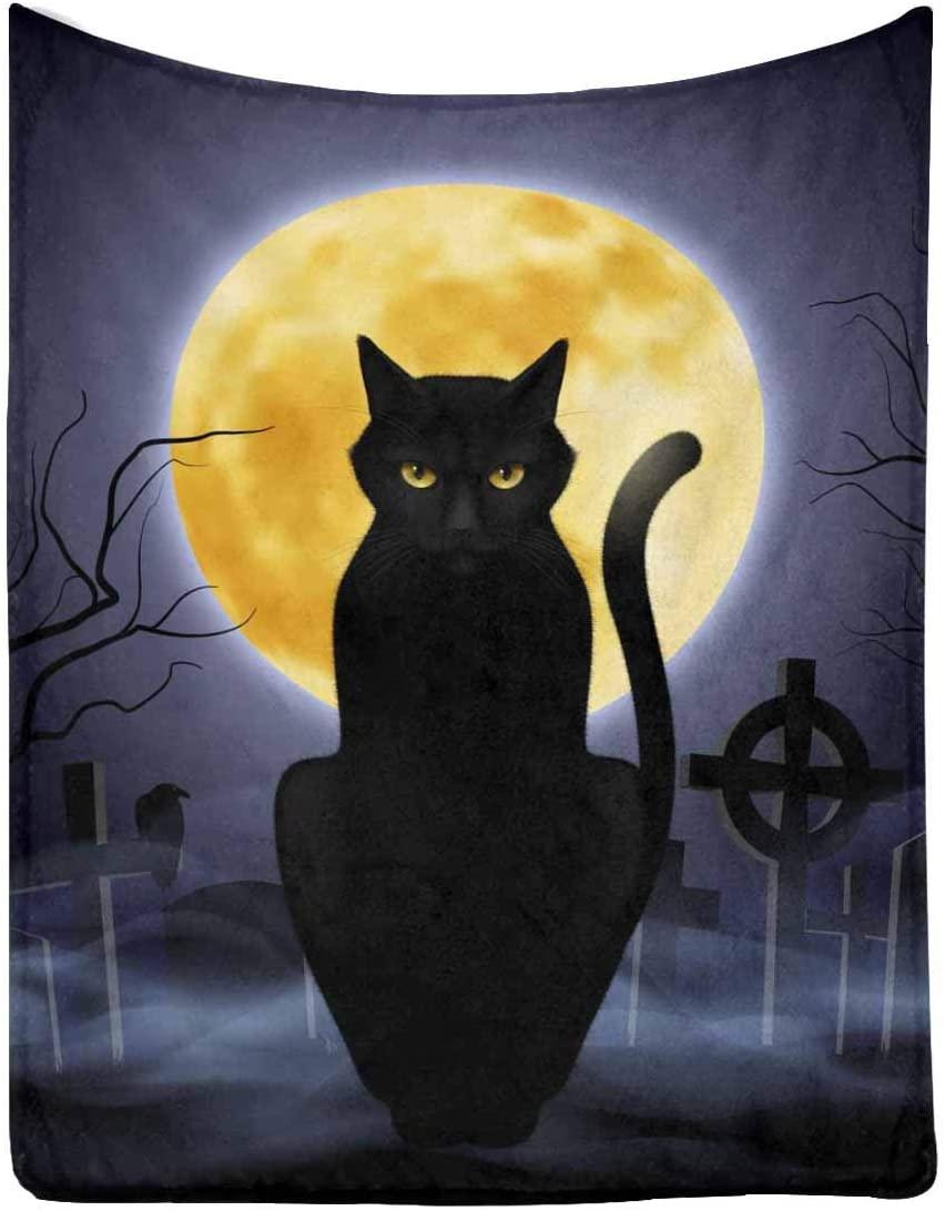 "InterestPrint Black Cat 50"" x 60"" Ultra Soft Micro Fleece Blanket for Kid Baby Adults"