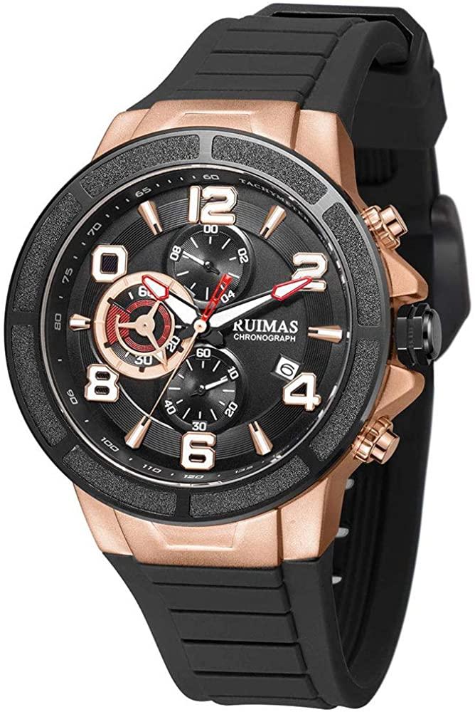 Ruimas Men's Silicone Strap Sport Watches Luxury Fashion Analog Chronograph Wristwatch Man Military Waterproof Quartz Watch Male 587