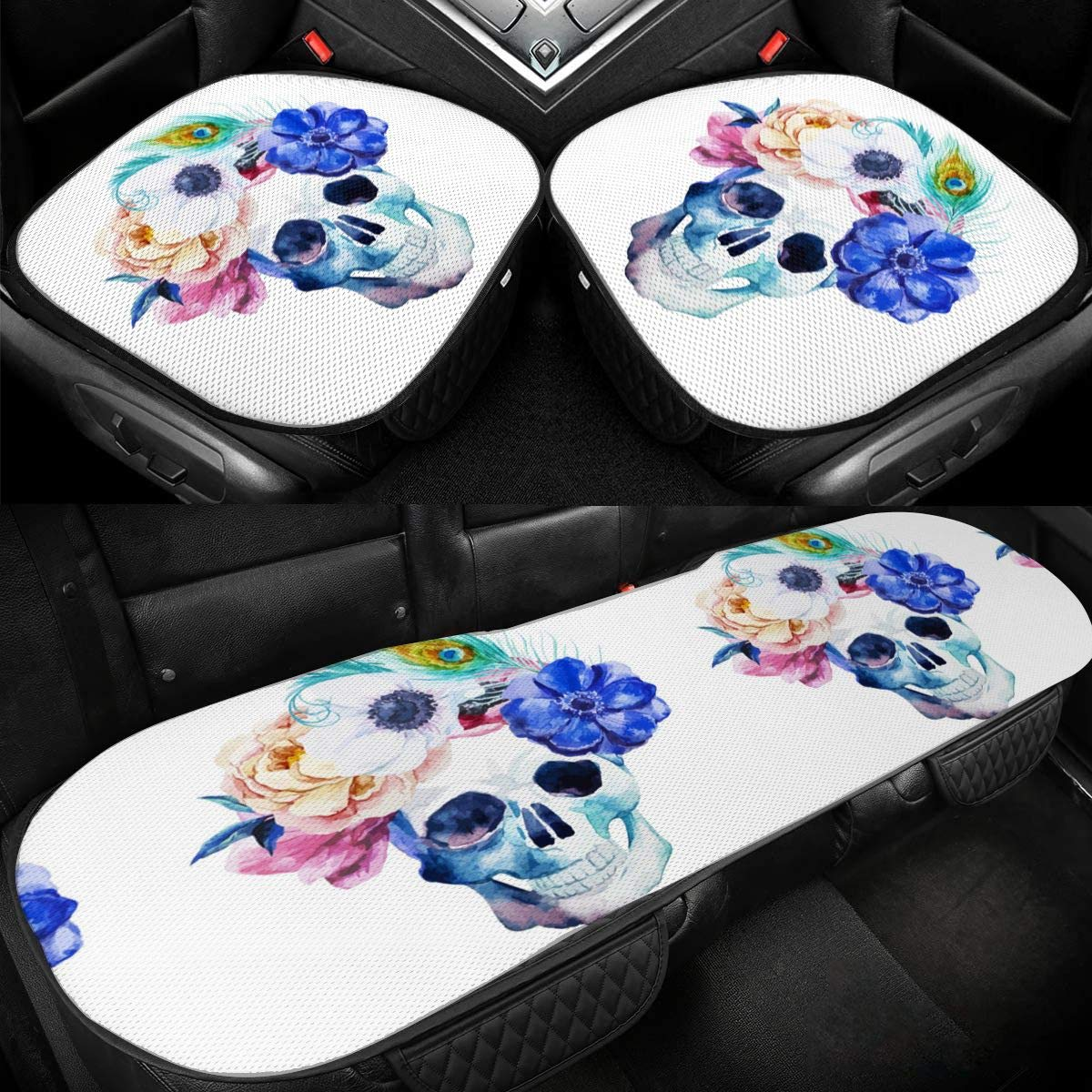 Watercolor Flowers Skull Car Ice Silk Seat Cushion Pad 3 Pieces Sets Comfort Seat Protector for Car Driver Seat Office Chair Home Use Seat Cushion
