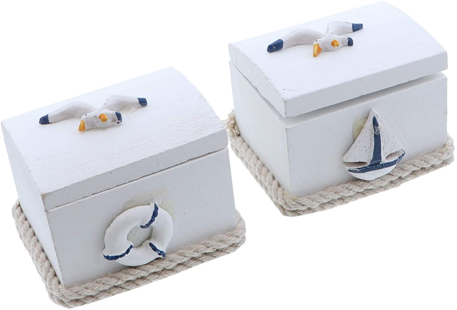 SandT Collection Small Nautical Treasure Boxes - Set of 2 Seagulls