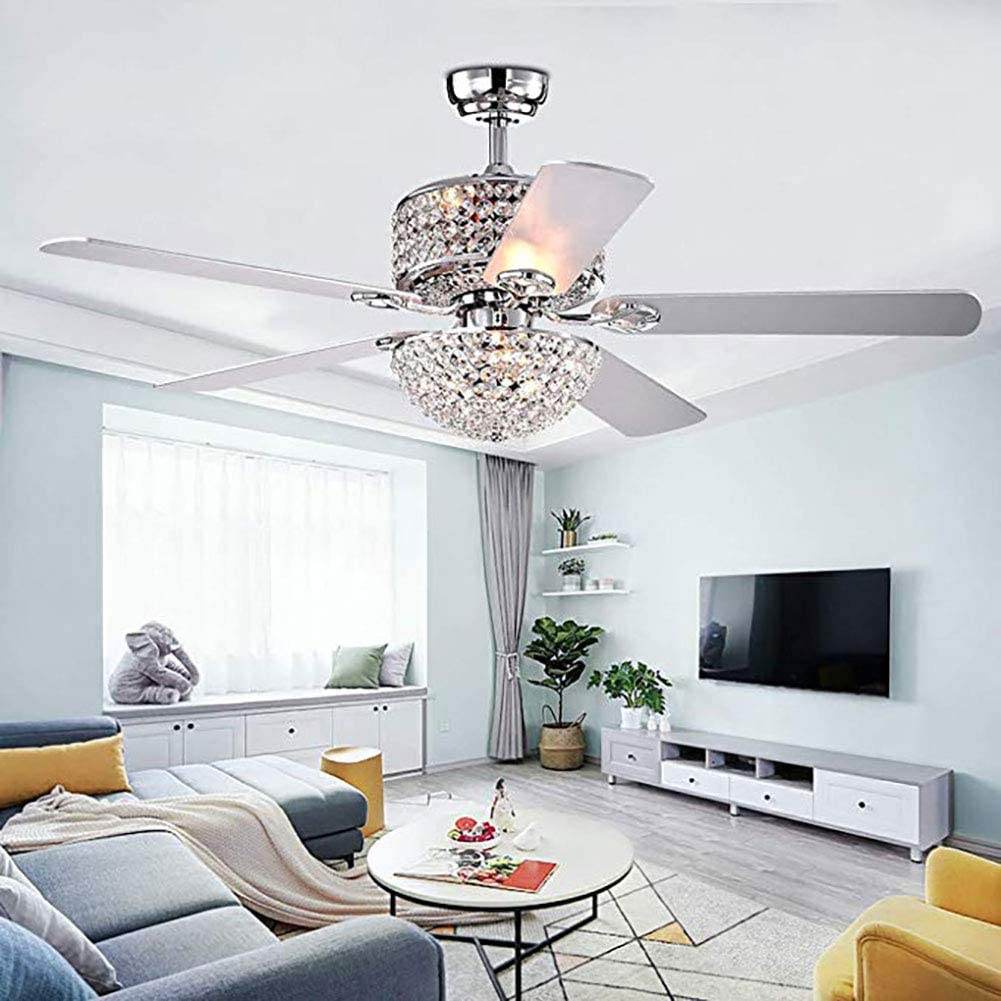 KDHARMR 52'' Crystal Fan Chandelier Konoha with Remote 5 Wood Blades Control for Living Room Bedroom Decoration Silver(US Stock)