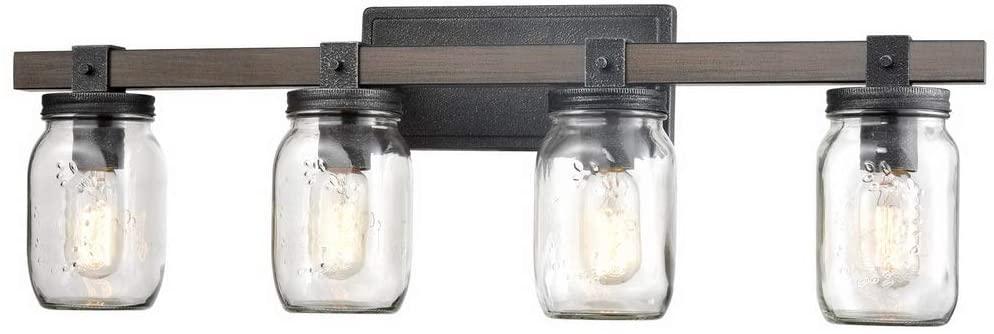 CLAXY Glass Mason Jar Wall Sconces Faux Distressed Metal 4 Light Bath Vanity Lights