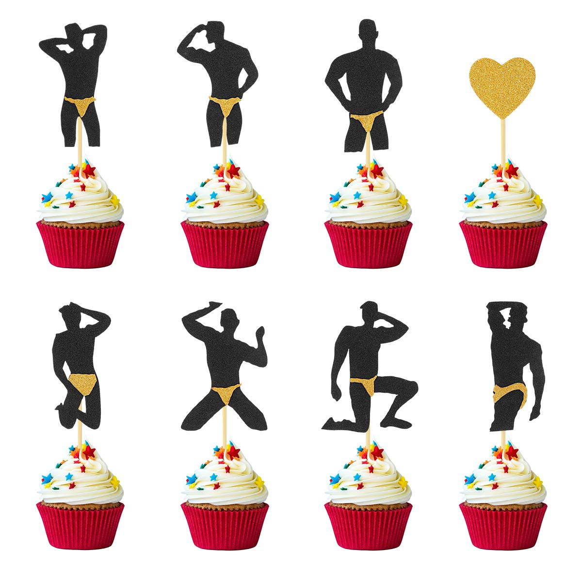 Bachelorette Cupcake Toppers - 40 Pcs(8 Styles) - Gold Glitter Male Dancers Strippers Cupcake Toppers - Great for Bachelorette Party Bridal Shower Hen Party Decorations