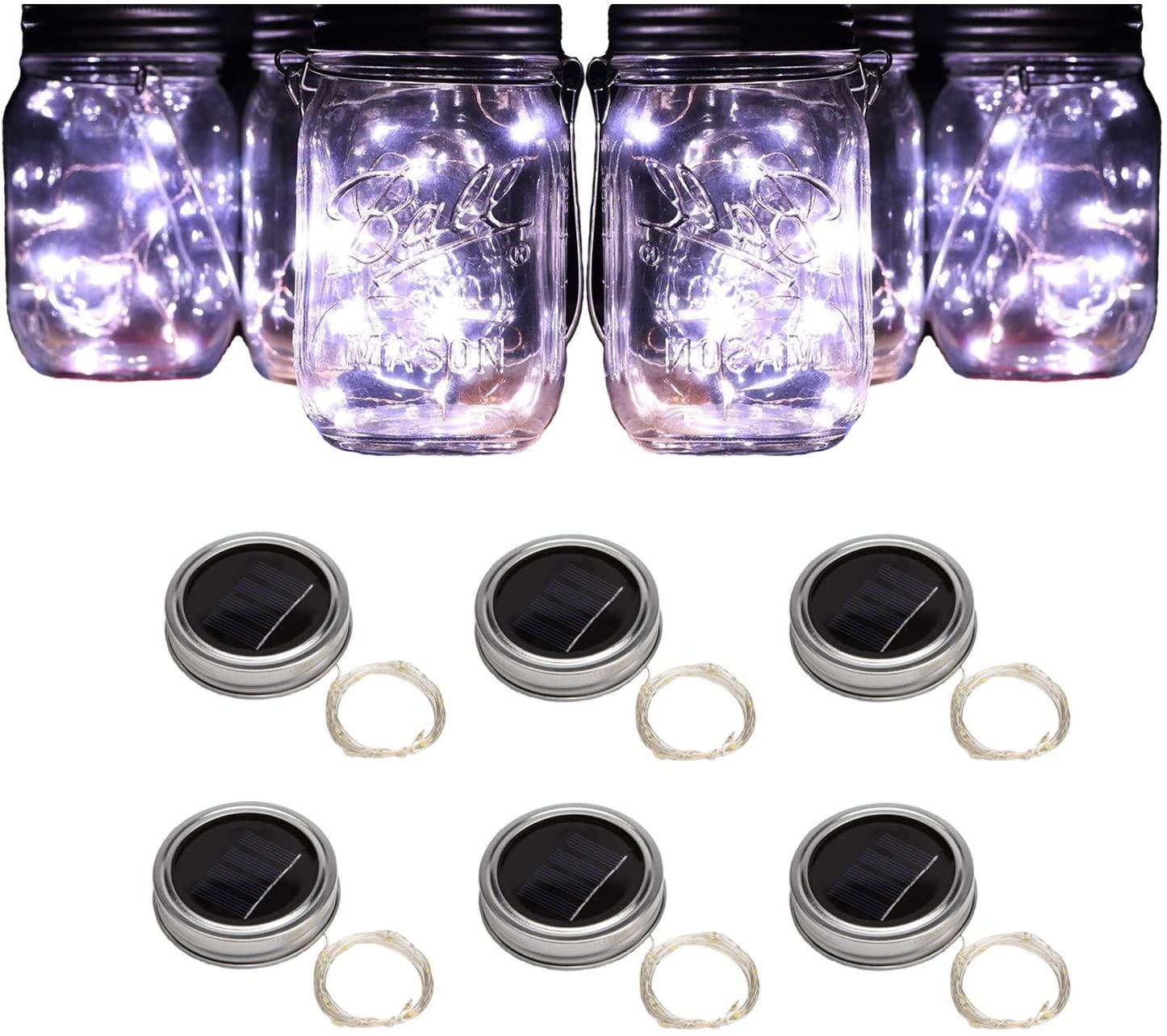 Forthcan 6 Pack Solar Mason Jar Lights, 10 Led String Fairy Firefly Lights Lids Insert for Regular Mouth Jars, Mason Jar,Patio,Lawn,Garden Decor (Mason Jar & Handle Not Included) (6, White)