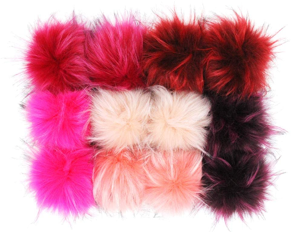 Furling Pompoms 4.3 Inches Furry Faux Raccoon Fur Pom Pom Balls for DIY Accessories Knitted Hats Set of 12