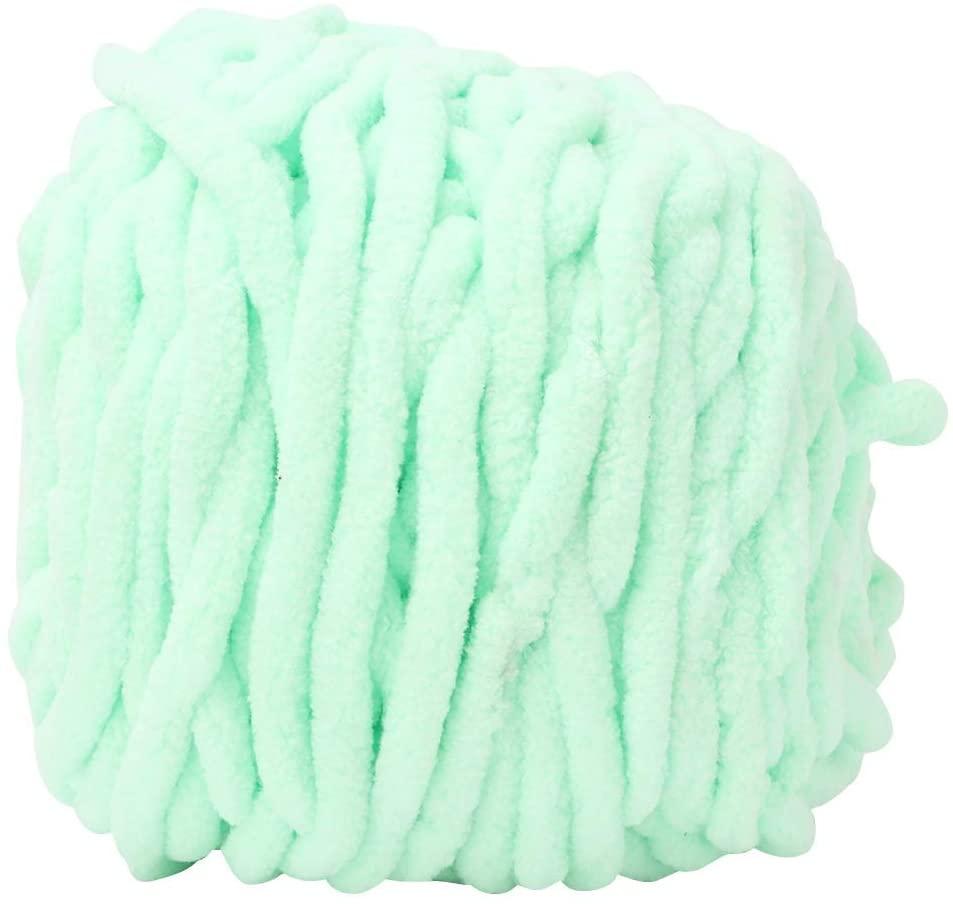 Rockyin Single Thick Ice Strip Yarn Needle Knitting Woven Blanket Slipper Line(Cyan)