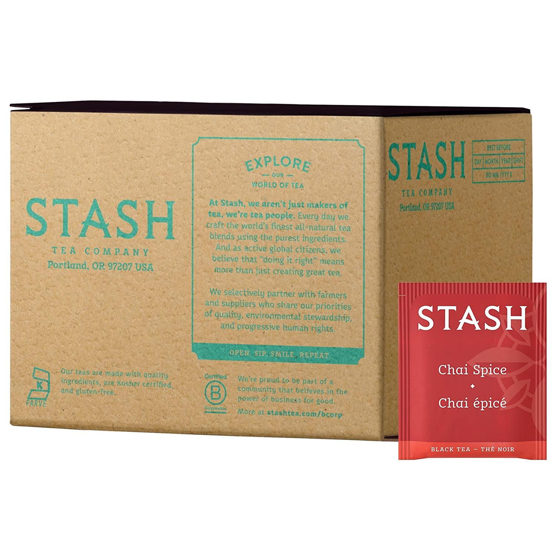 Stash Tea Chai Spice Black Tea 100 Count Box of Tea Bags in Foil