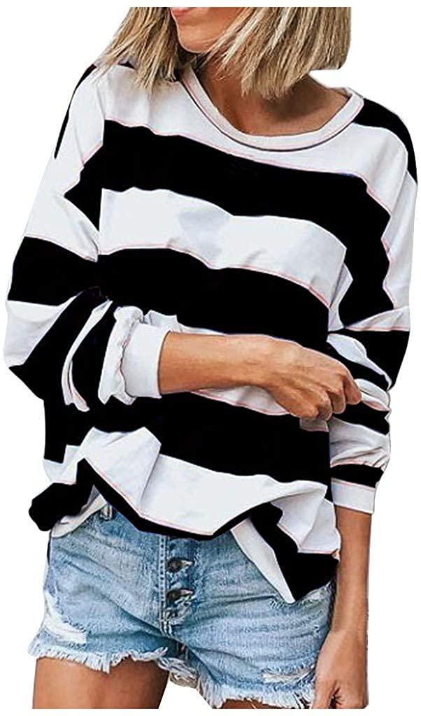 Womens Color Block Tunic Tops Crewneck Long Sleeve T-Shirt Casual Loose Shirt Blouses 2020 Fall Classic Striped Tops