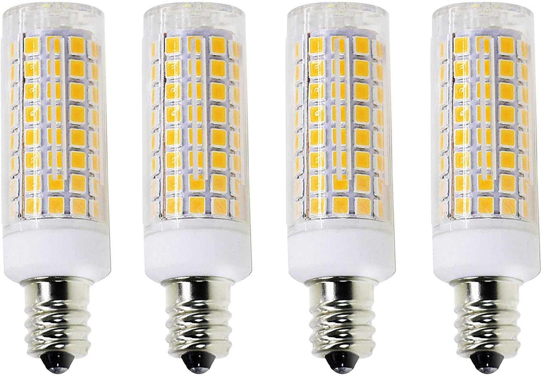 E12 Led Bulb Candelabra Light Bulbs 8W, 100W (850LM) Equivalent Ceiling Fan Bulbs, Daylight 6000K, LED Candle Bulbs (Base E12) Home Light Fixtures Decorative, Dimmable 4 Pack.