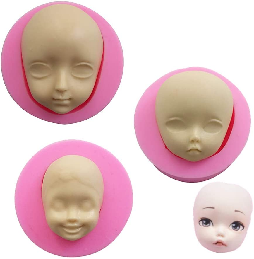 Efivs Arts Silicone Baby Face Mold Fondant BJD SD Doll Mold Candy Making Mold for Baby Shower Cake Cupcake Decoration Toppers Set of 3