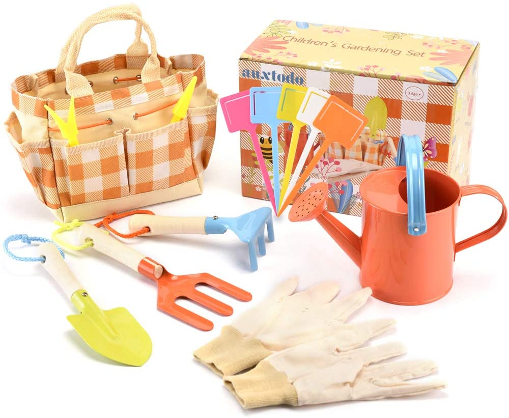 Kids Garden Set, Children Gardening Tool Set, Outdoor Toys with Metal Shovel, Rake, Fork, Watering Can, Glove, Carry Bag & Garden Accessories Great Garden Toys Gift for Toddler Preschool Boys & Girls