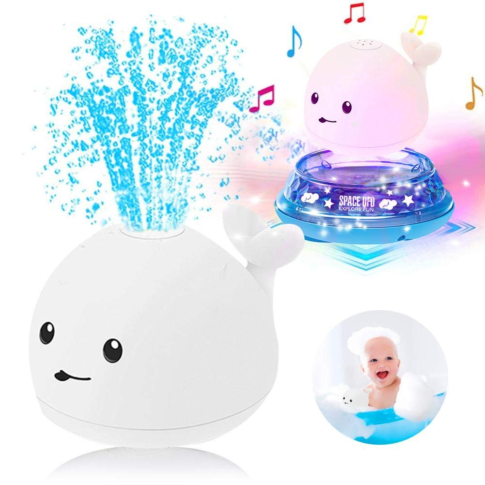 Kids Bath Toys, 2 in 1 Electric Induction Whale Water Spray Doll, Sprinkler Bath Fun Toys with Music and Flashing Lights Bathtime Play Ball Gift for Infant Children's Toddlers Boys Girls
