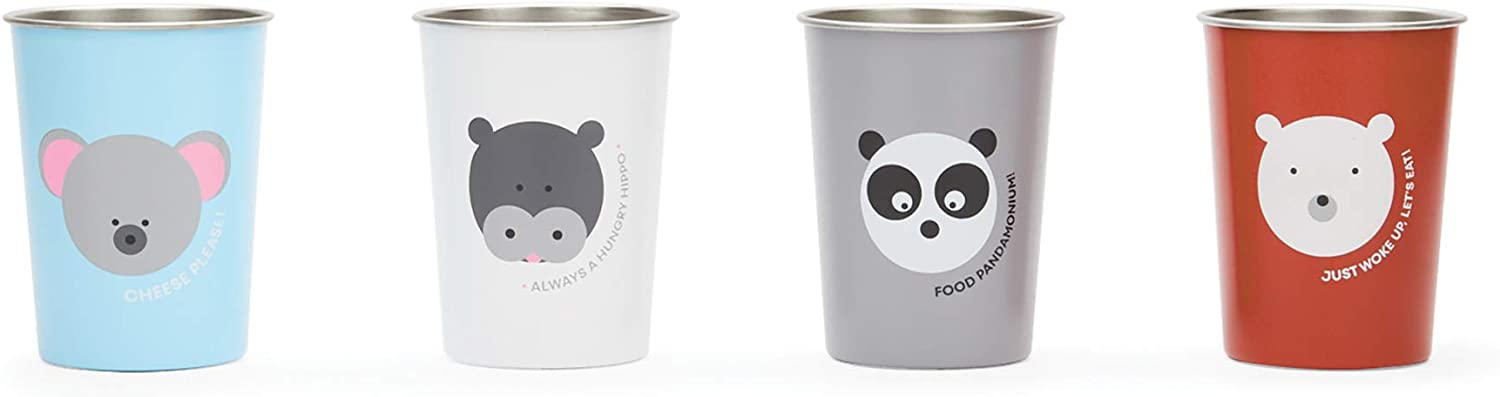 Red Rover 20008 Stainless Steel Animal Kids' Cups, 3 x 3 x 4 inches, Multicolored