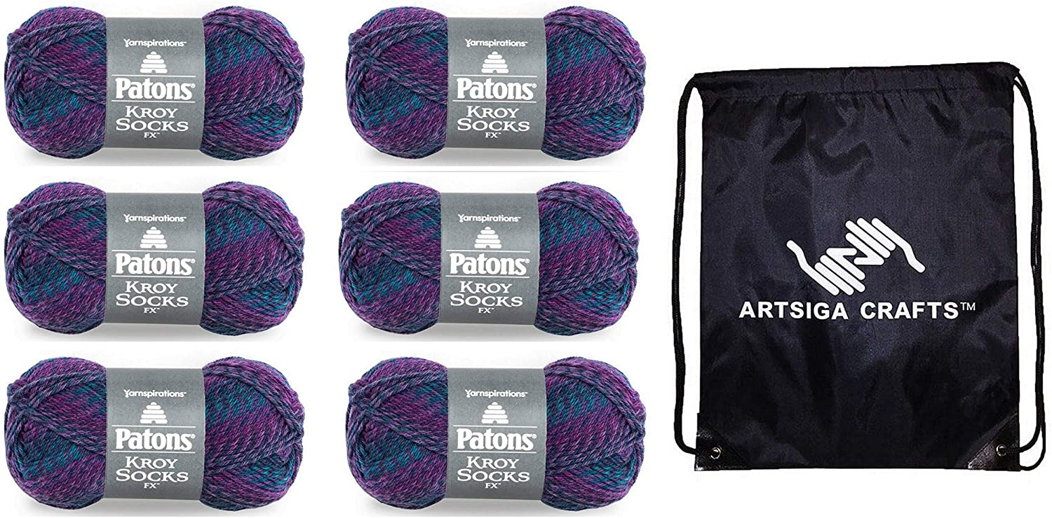 Patons Knitting Yarn Kroy Socks FX Celestial 6-Skein Factory Pack (Same Dye Lot) 243457-57330 Bundle with 1 Artsiga Crafts Project Bag