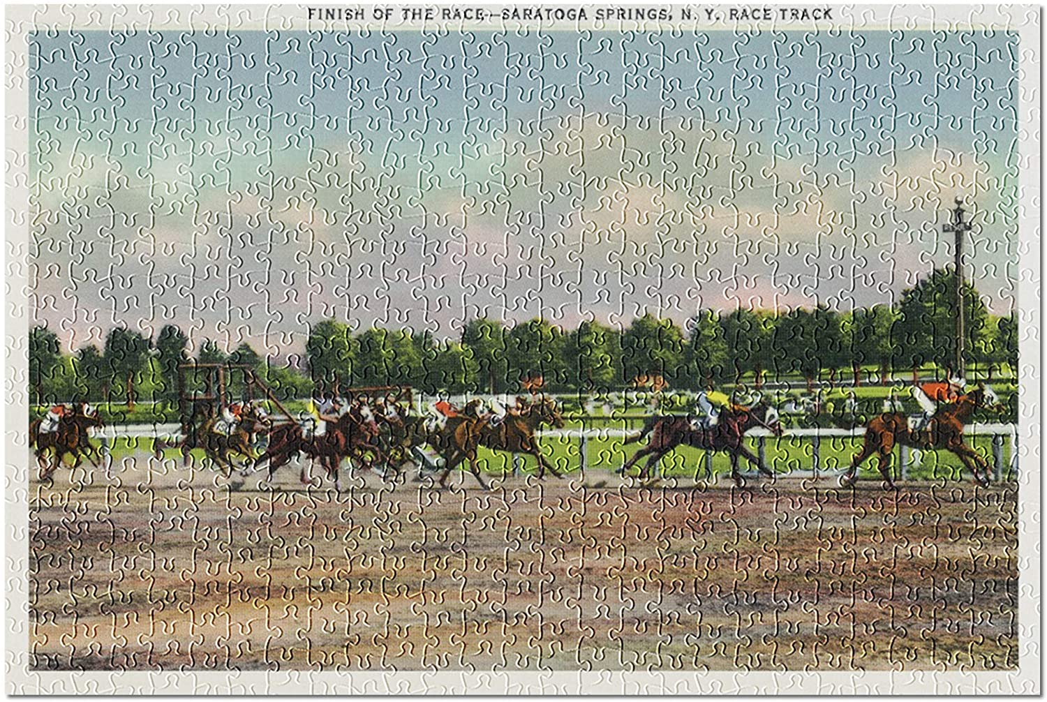 Saratoga Springs, New York - Jockeys Finishing Horse Race at Race Track (Premium 500 Piece Jigsaw Puzzle for Adults, 13x19)