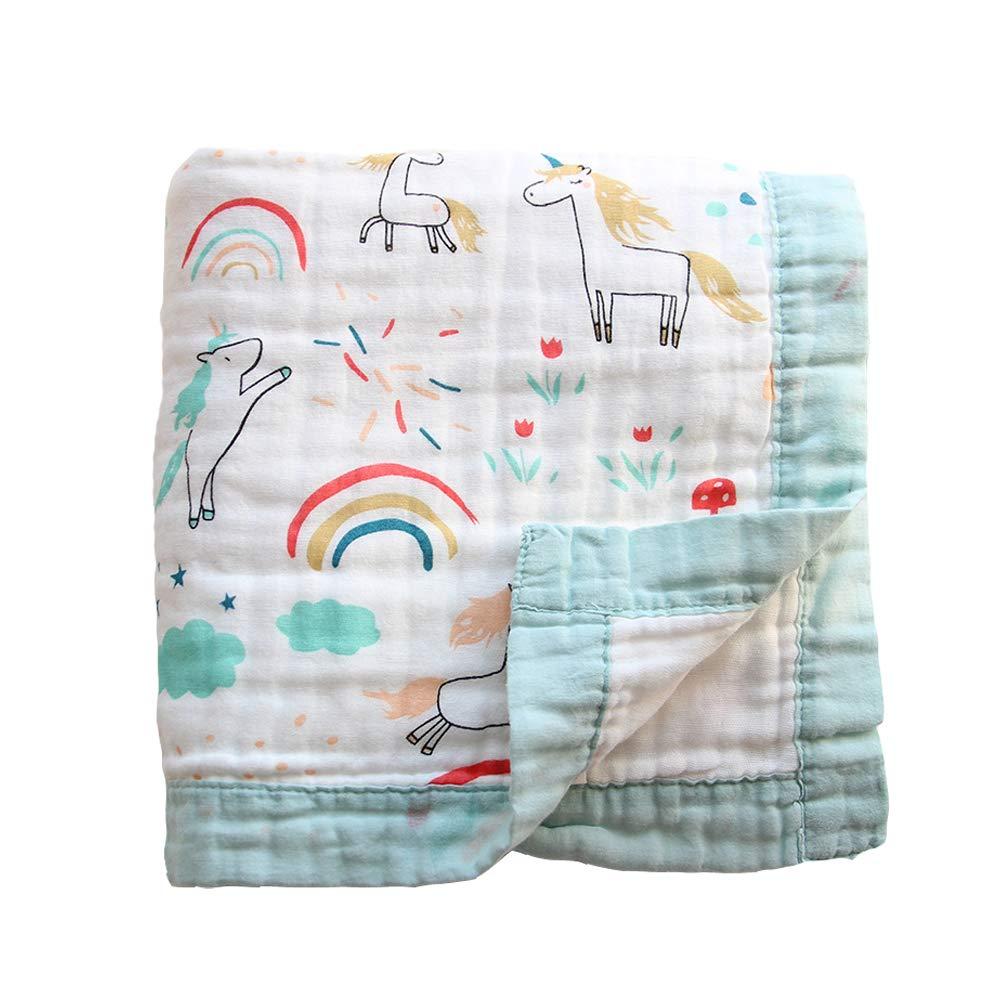 Gauze Bath Towel Soft Newborn, Bamboo Summer Blanket for Toddler 6 Layers Muslin Baby Blanket Toddler Blanket- Large, Ultra-Soft Lightweight for Baby Stroller Blanket (Hippopotamus)