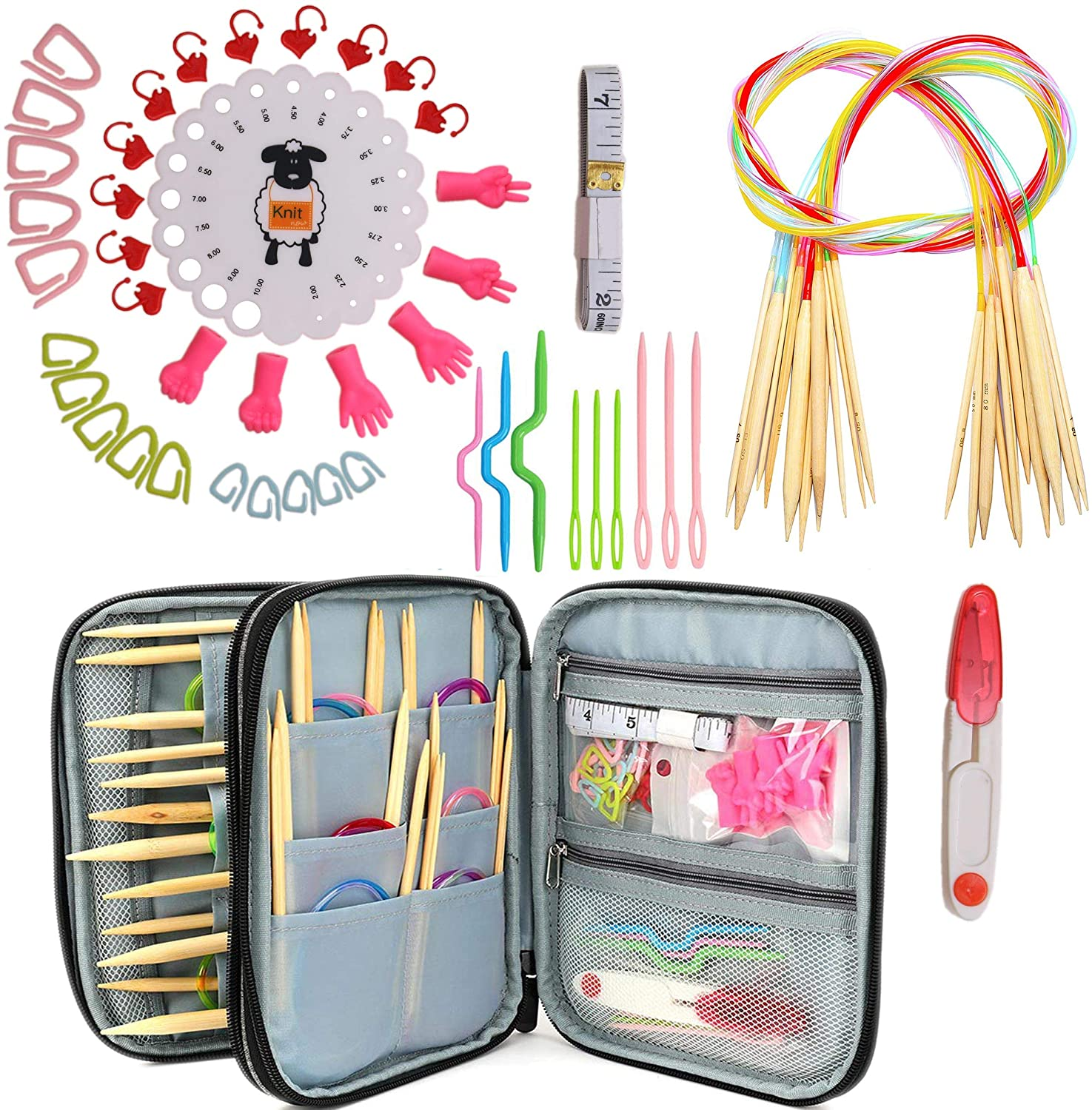 Akacraft Circular Knitting Needles Kit - Bamboo Needels in Portable Case, Contains All The Knitting & Crochet Accessories and Tools in one Set