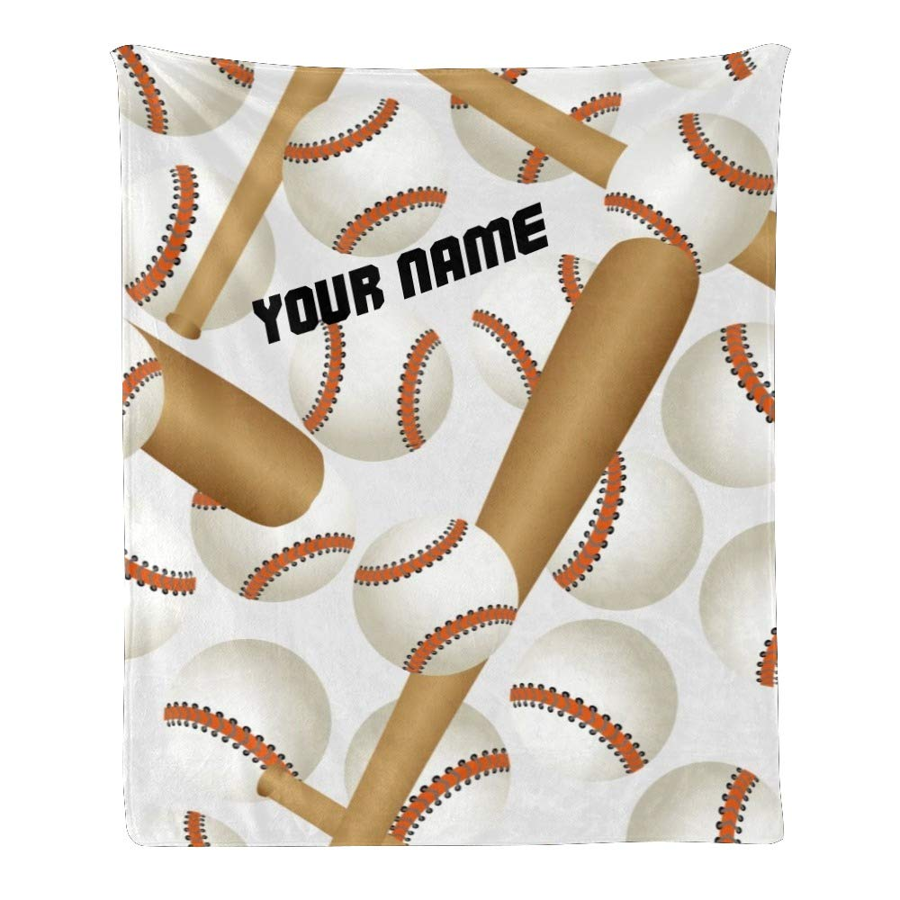 Personalized Kids Fleece Blanket with Name Custom Baseball Bat Baby Throw Blanket for Bed (30 x 40 inches)