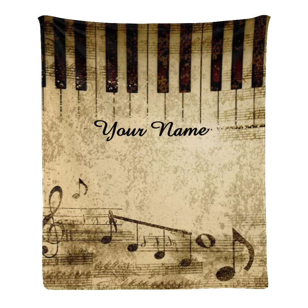 Personalized Kids Fleece Blanket with Name Custom Vintage Music Baby Throw Blanket for Bed (30 x 40 inches)