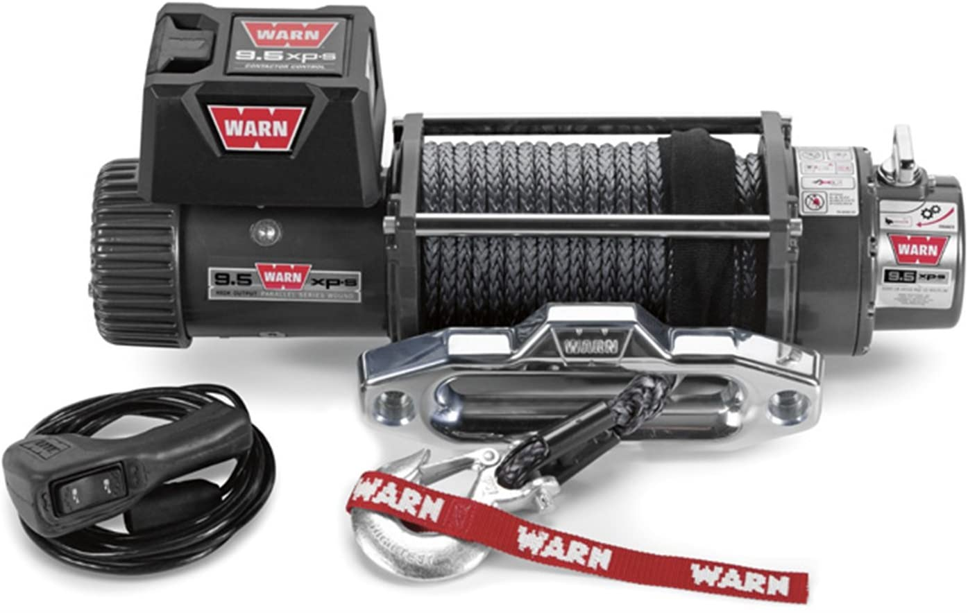 WARN 87310 Electric 12V 9.5xp-s Series Winch with Synthetic Rope: 3/8