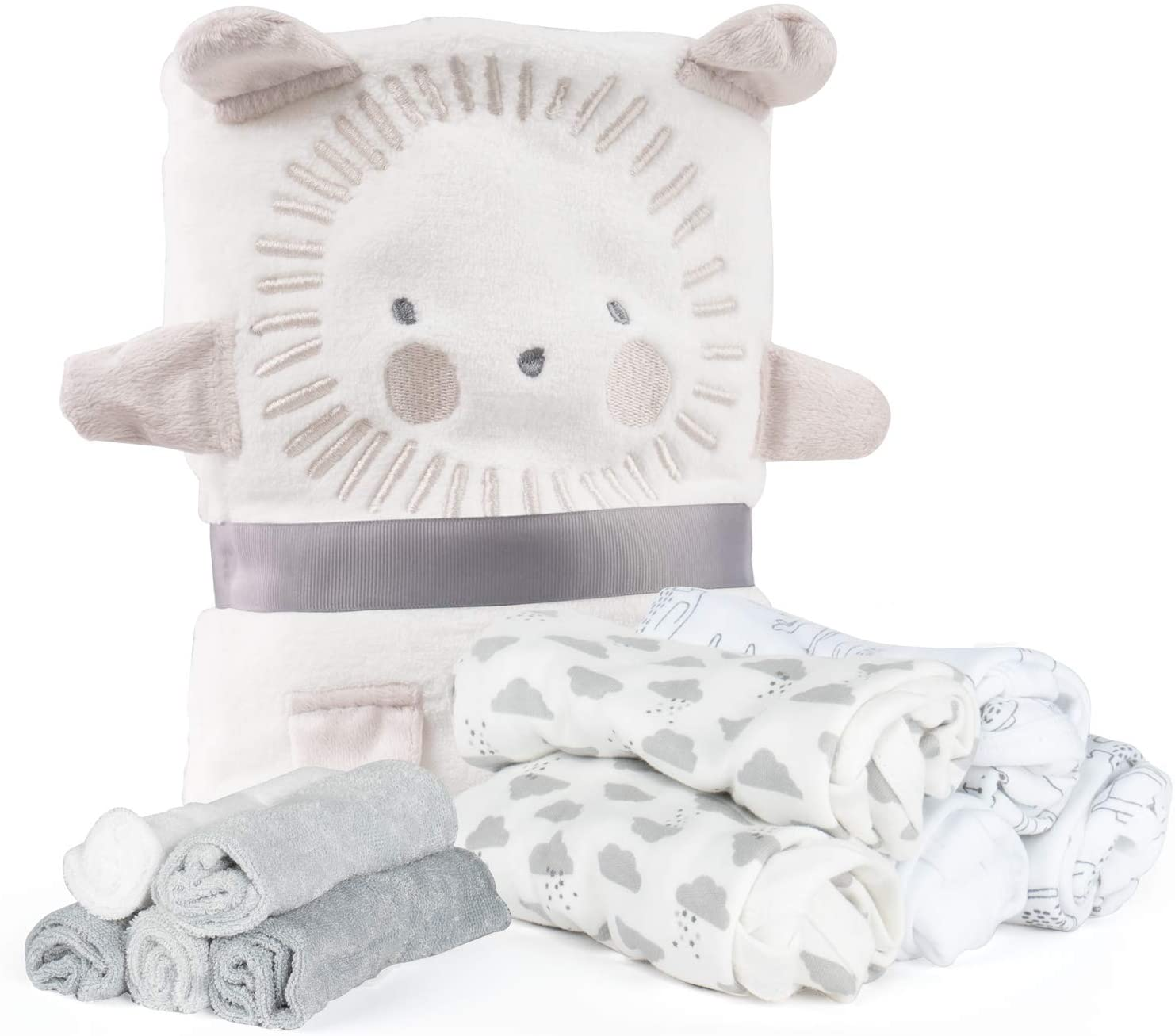 Lily and Page Baby Gifts for Newborn Boys, Girls Shower Unique Gift Set Plush Travel Blanket (Baby Neutral Set, Baby)