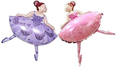 AnnoDeel 2pcs Large Ballet Dancing Girl Foil Balloons, 41X29 Ballet Girl for Wedding Birthday Baby ShowerParty Decorations