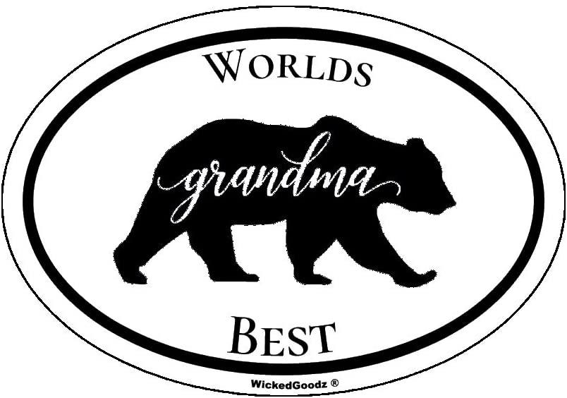 WickedGoodz Black Oval Vinyl Worlds Best Grandma Bear Decal - Mama Beara Bumper Sticker - Great Grammy Meme Grandmother Gift