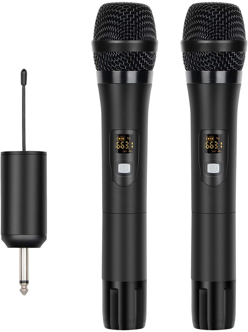 Depusheng UHF 16 Channels Handheld Dynamic Microphone Wireless mic System for Karaoke & House Parties Over The Mixer, PA System etc