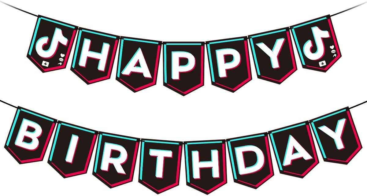 Black Tik Tok Happy Birthday Banner- Tik Tok Theme Birthday Party Decorations,Social Media Party Bunting Decor,Boys Girls Birthday Supplies,Short Video Birthday Banner Decor