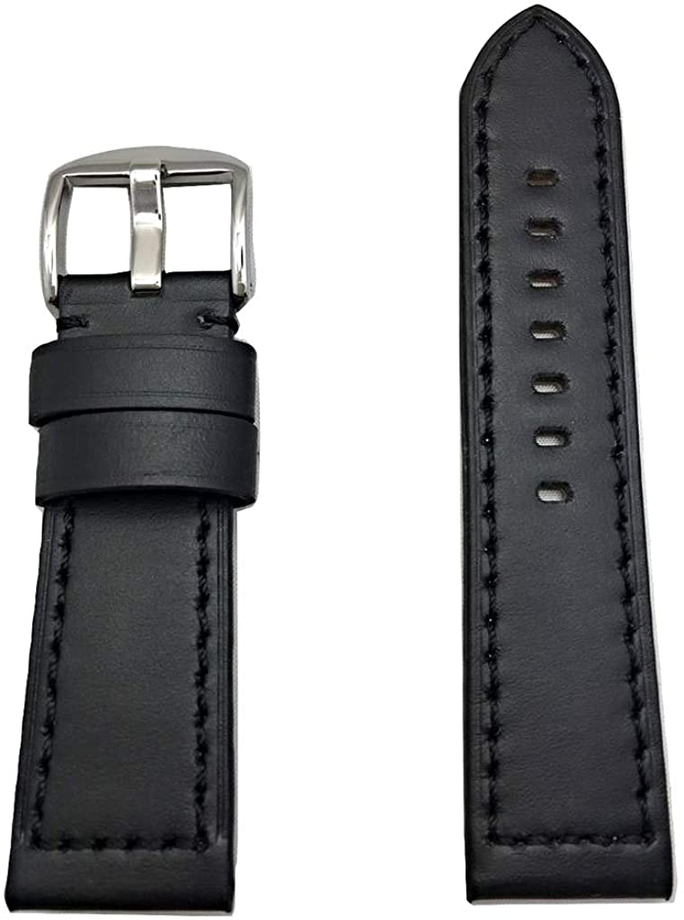 24mm Black Panerai Style Genuine Leather Watch Band | Thick, Smooth, Flat Padded Replacement Wrist Strap Bracelet That Brings New Life to Any Watch (Mens Standard Length)
