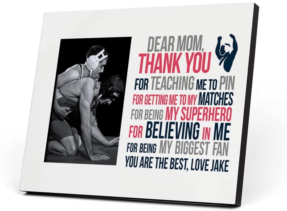 ChalkTalkSPORTS Personalized Wrestling Photo Frame | Dear Mom Picture Frame | Gray-Pink