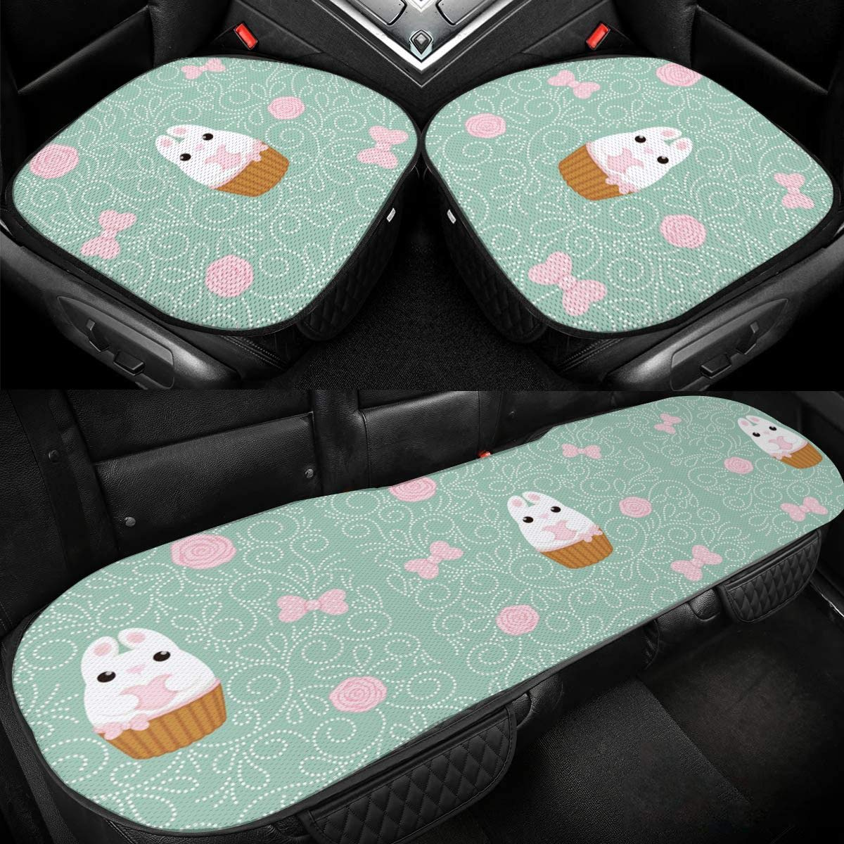 A Rabbit Hold A Heart Car Ice Silk Seat Cushion Pad 3 Pieces Sets Comfort Seat Protector for Car Driver Seat Office Chair Home Use Seat Cushion