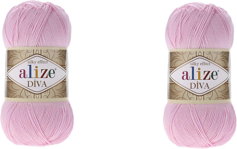 2 skeins Alize Diva Silky Effect 100% Microfiber Acrylic Yarn Thread Crochet Art Lace Craft 200gr 766yds Hand Knitting Yarn (291-Blue)
