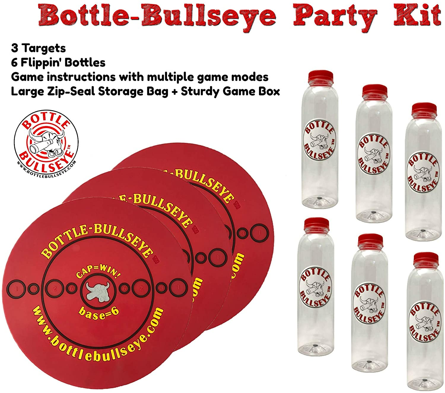 Bottle-Bullseye Party Kit. Fun Indoor & Outdoor Game Like Darts. Made in The USA. Anyone can Play Almost Anywhere: Parties, picnics, Camping, Tailgating. Durable Weatherproof Target & Bottles!