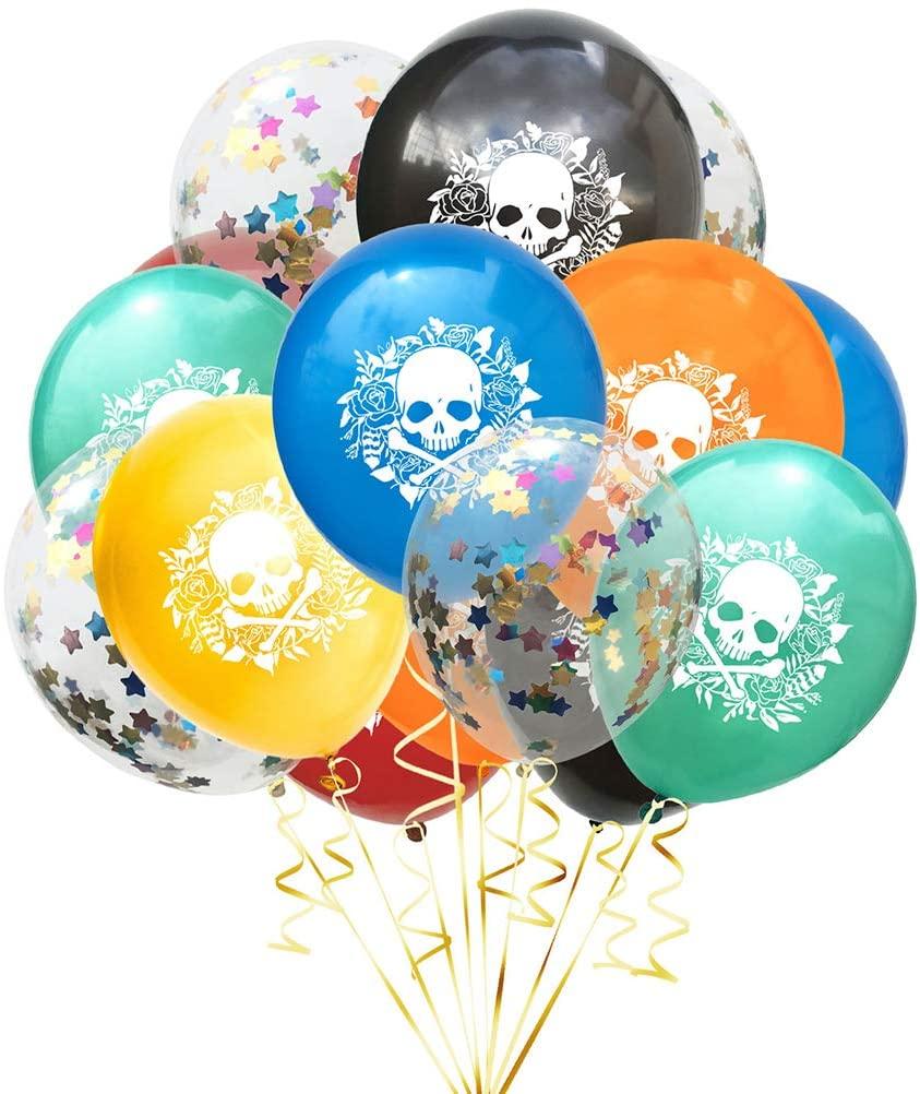 15pcs/Set Balloons Halloween Printing Latex Birthday Party Decoration Supplies Festival (Random skeleton*10, Colored Stars confetti*5)