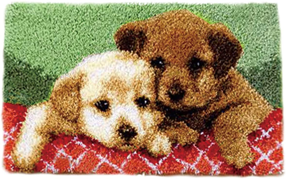 Latch Hook Kits Needlework Embroidery DIY Pillow Crochet Rug Yarn Cross Stitch Kits (C Dog1)
