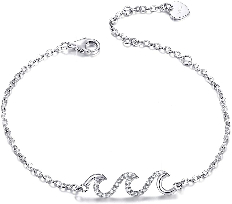 YZSFMZGE Ocean Beach Wave Bracelet/Anklet for Women 925 Sterling Silver Adjustable Sea Bracelet/Ankle Bracelet