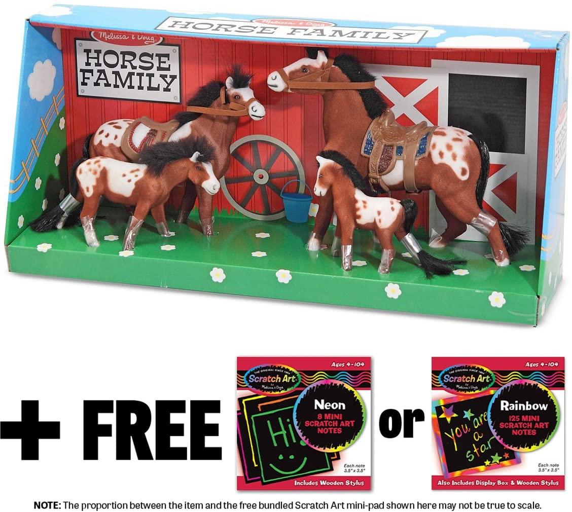 Melissa & Doug Appaloosa Horse Family 4-Piece Figure Play Set + Free Scratch Art Mini-Pad Bundle (22385)
