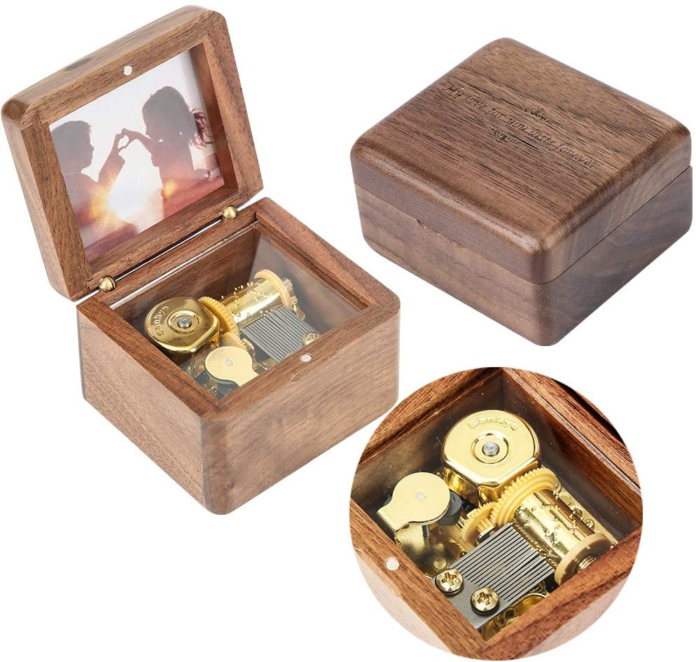 Natural Wooden Music Box with Customizable Photos Wind Up Music Box for Friends,Spouse,Kids (Walnut, Tone:Fly me to The Moon)