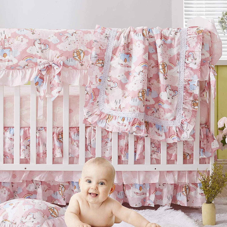 Brandream Baby Girl Crib Bedding Set Pink Unicorn Nursery Bedding with Ruffle Crib Rail Cover 4 Piece Cute Rainbow Cloud Blanket Set 100% Cotton