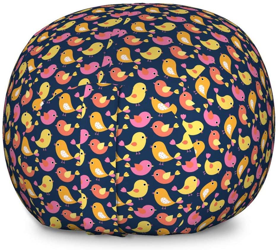 Lunarable Bird Storage Toy Bag Chair, Colorful Flying Animals Seasonal Chirping Mascots Romantic Spring Kids Joy Cartoon, Stuffed Animal Organizer Washable Bag for Kids, Large Size, Multicolor