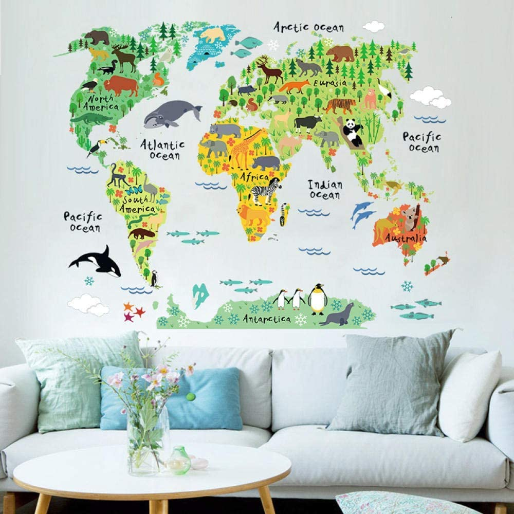 Colorful Animal World Map Vinyl Wall Sticker for Kids Room Home Decor 3D Decals Creative Wall Stickers Living Room Stickers