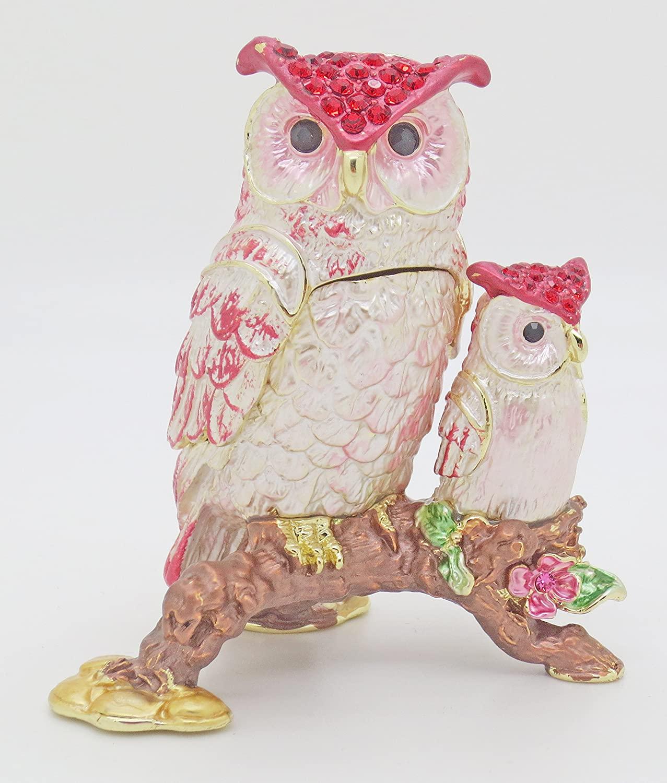 znewlook Alloy Metal Owl Shape Animal Trinket Box for Jewelry Handmade Owl Shape Crystals Trinket Jewelry Box Collectible Jewelry Trinket Box (Pink)