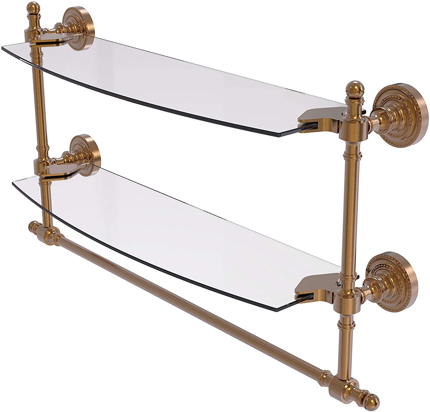 Allied Brass RD-34TB/18 Retro Dot Collection 18 Inch Two Tiered Integrated Towel Bar Glass Shelf, Brushed Bronze