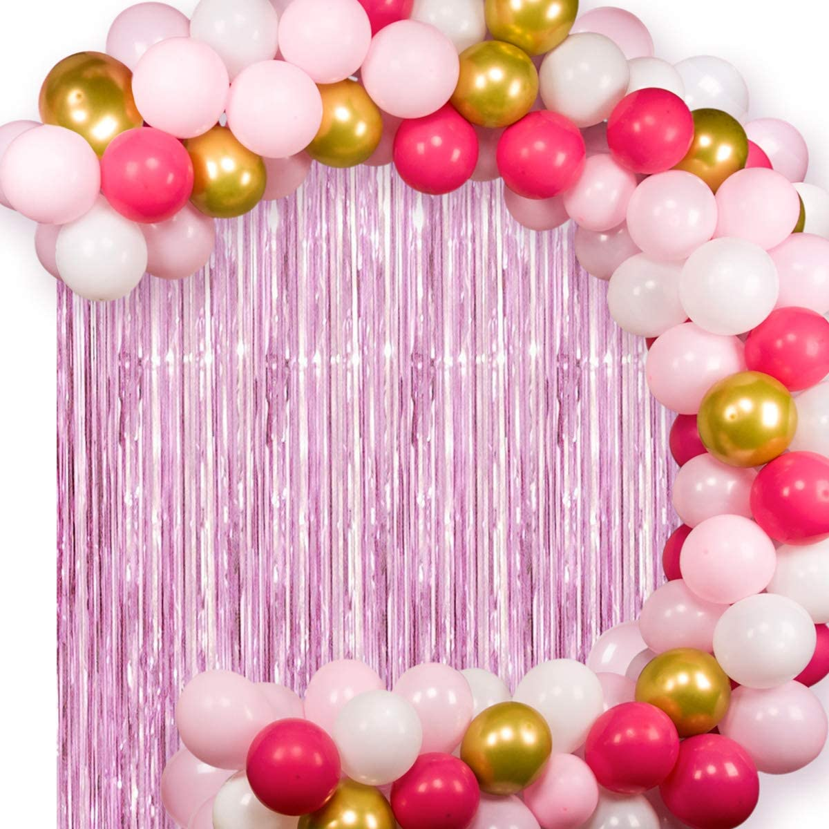 JOYYPOP Pink Balloon Garland Kit with Pink Fringe Curtain White Pink Gold Balloons for Pink Baby Shower Party Wedding Party