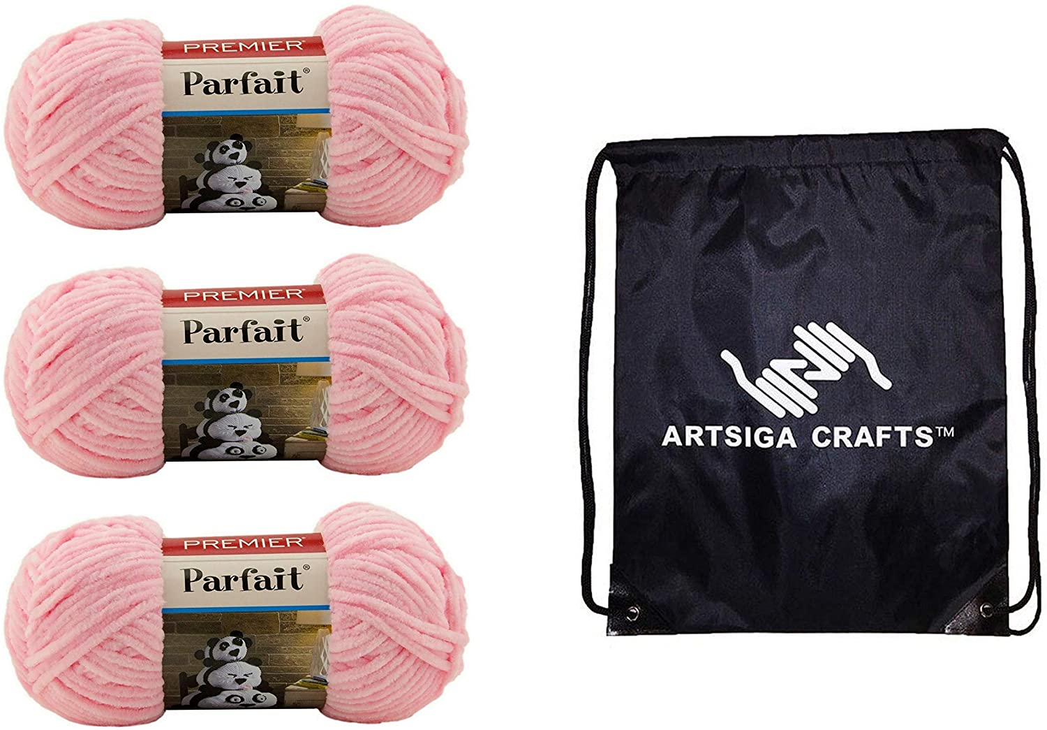 Premier Knitting Yarn Parfait Solid Pink 3-Skein Factory Pack (Same Dye Lot) 30-25 Bundle with 1 Artsiga Crafts Project Bag